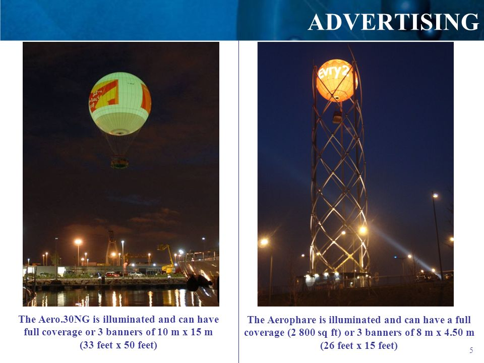 ADVERTISING The Aero.30NG is illuminated and can have full coverage or 3 banners of 10 m x 15 m (33 feet x 50 feet)