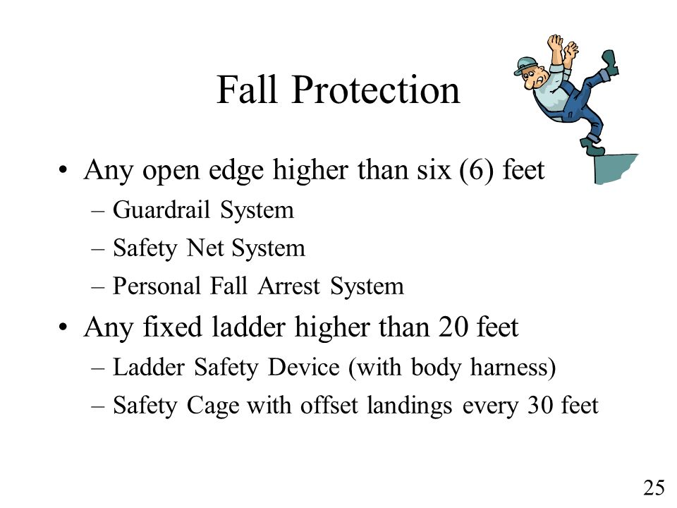 Fall Protection Any open edge higher than six (6) feet