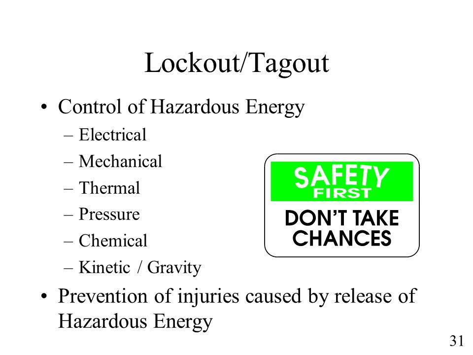 Lockout/Tagout Control of Hazardous Energy