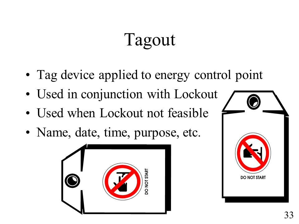 Tagout Tag device applied to energy control point