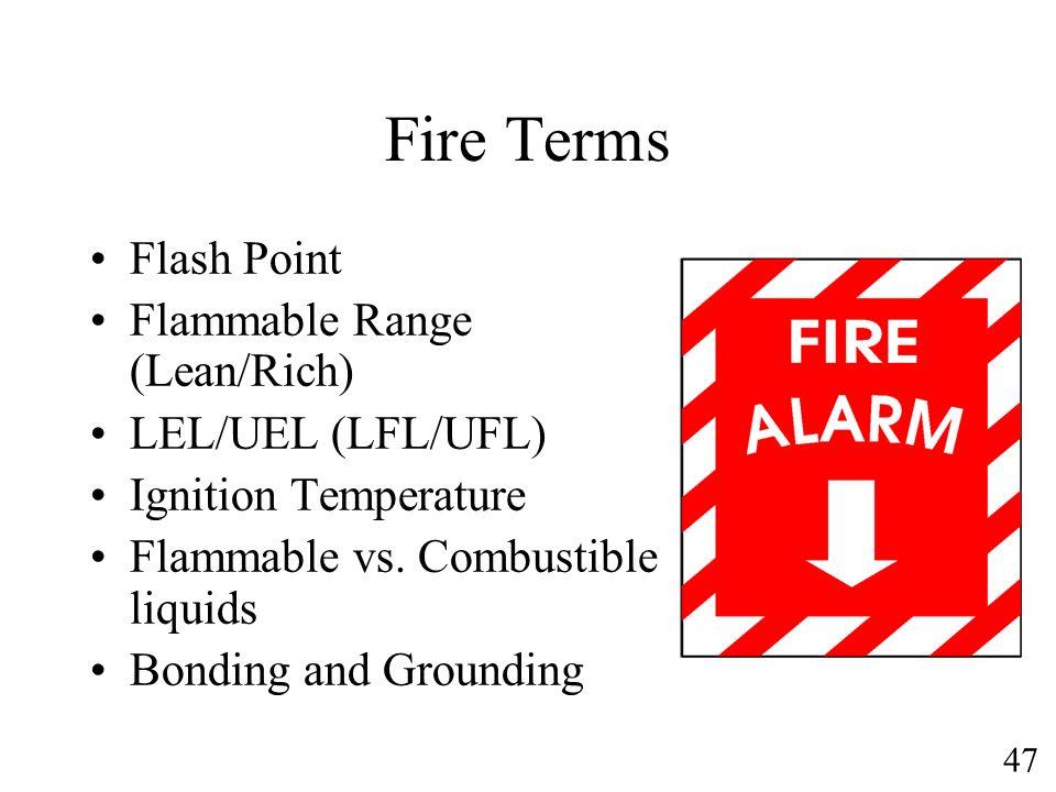 Fire Terms Flash Point Flammable Range (Lean/Rich) LEL/UEL (LFL/UFL)