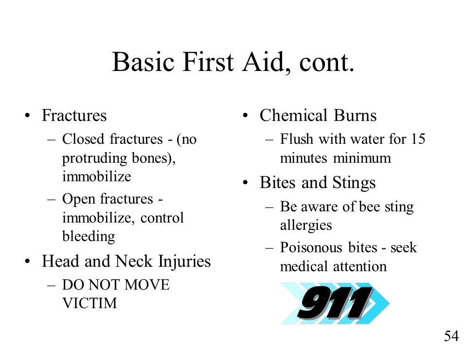 Basic First Aid, cont. Fractures Head and Neck Injuries Chemical Burns
