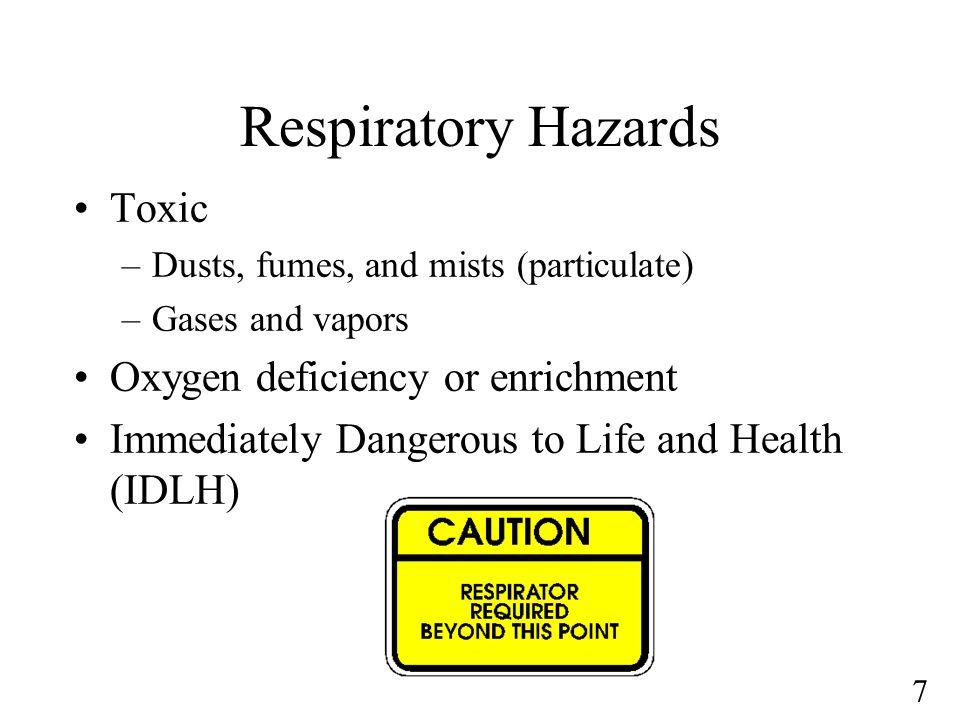 Respiratory Hazards Toxic Oxygen deficiency or enrichment