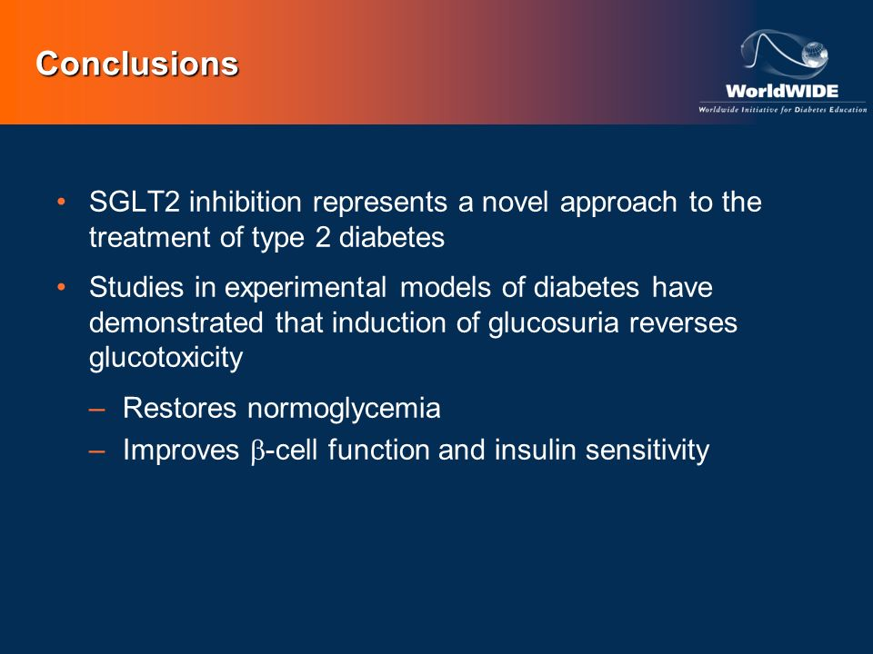 Conclusions SGLT2 inhibition represents a novel approach to the treatment of type 2 diabetes.