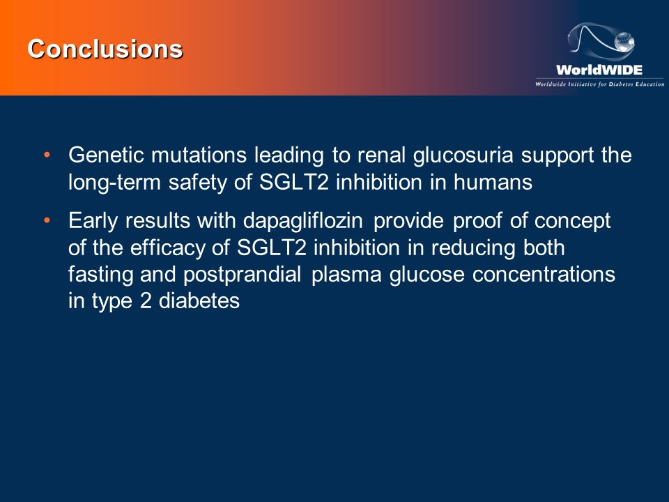 Conclusions Genetic mutations leading to renal glucosuria support the long-term safety of SGLT2 inhibition in humans.