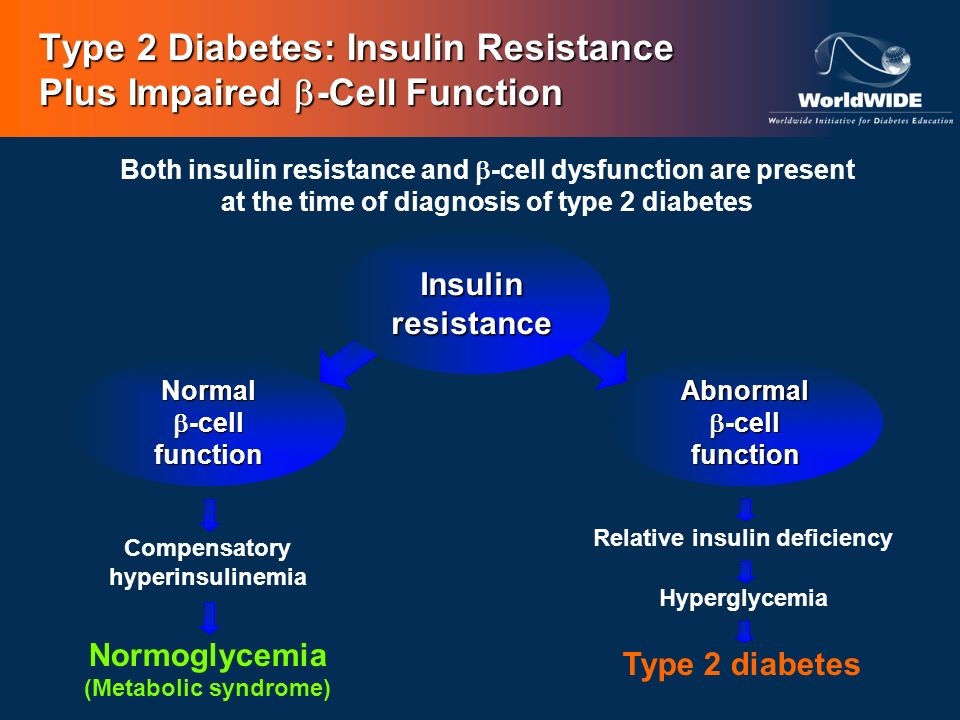 Type 2 Diabetes: Insulin Resistance Plus Impaired -Cell Function