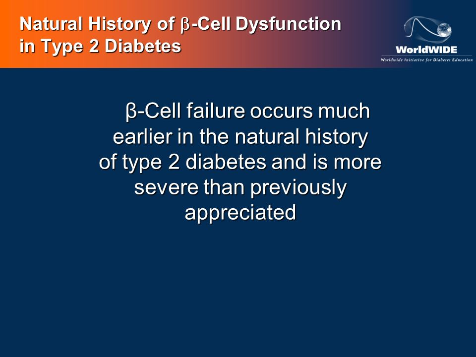Natural History of -Cell Dysfunction in Type 2 Diabetes