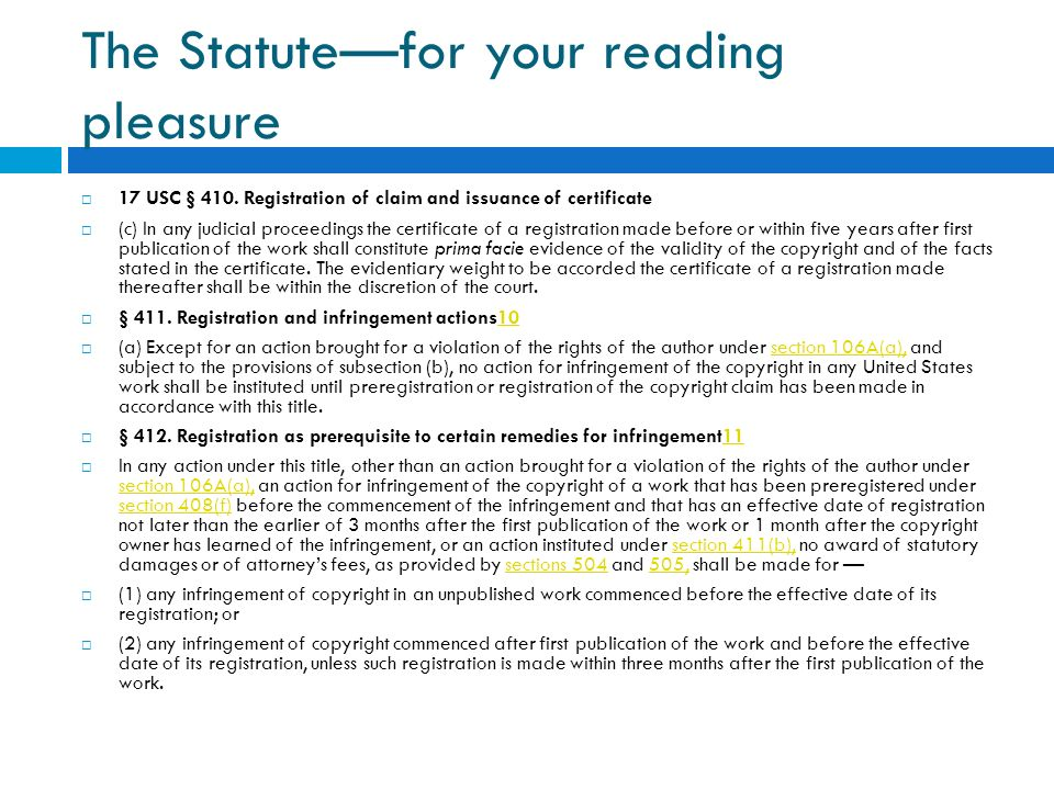 The Statute—for your reading pleasure