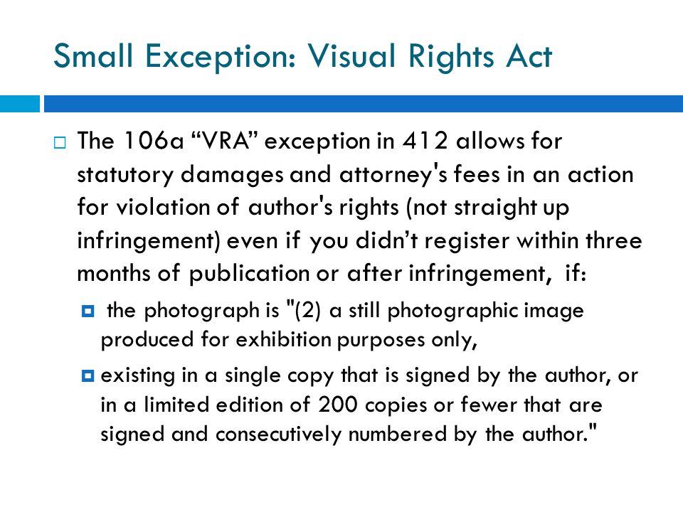 Small Exception: Visual Rights Act