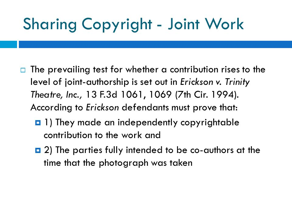 Sharing Copyright - Joint Work