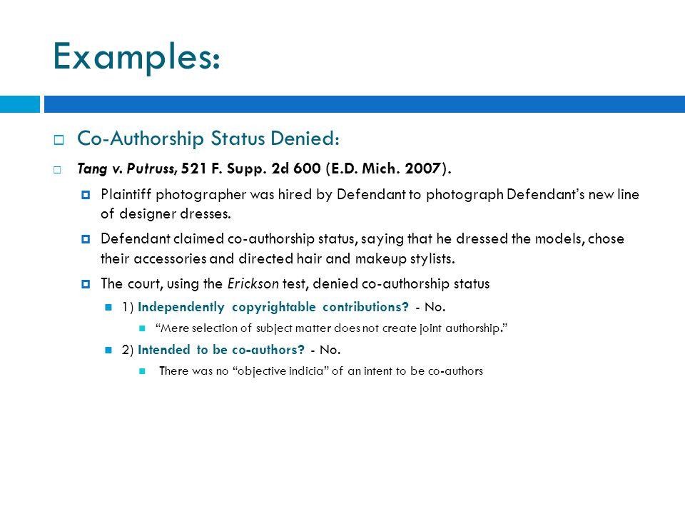 Examples: Co-Authorship Status Denied: