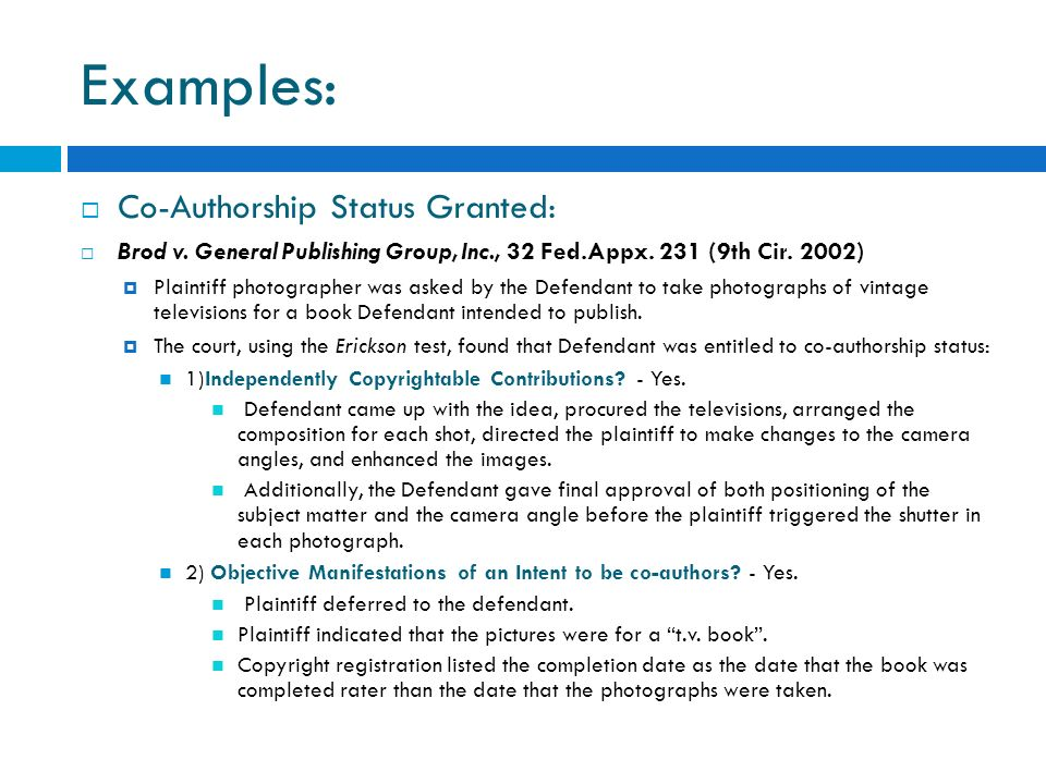 Examples: Co-Authorship Status Granted: