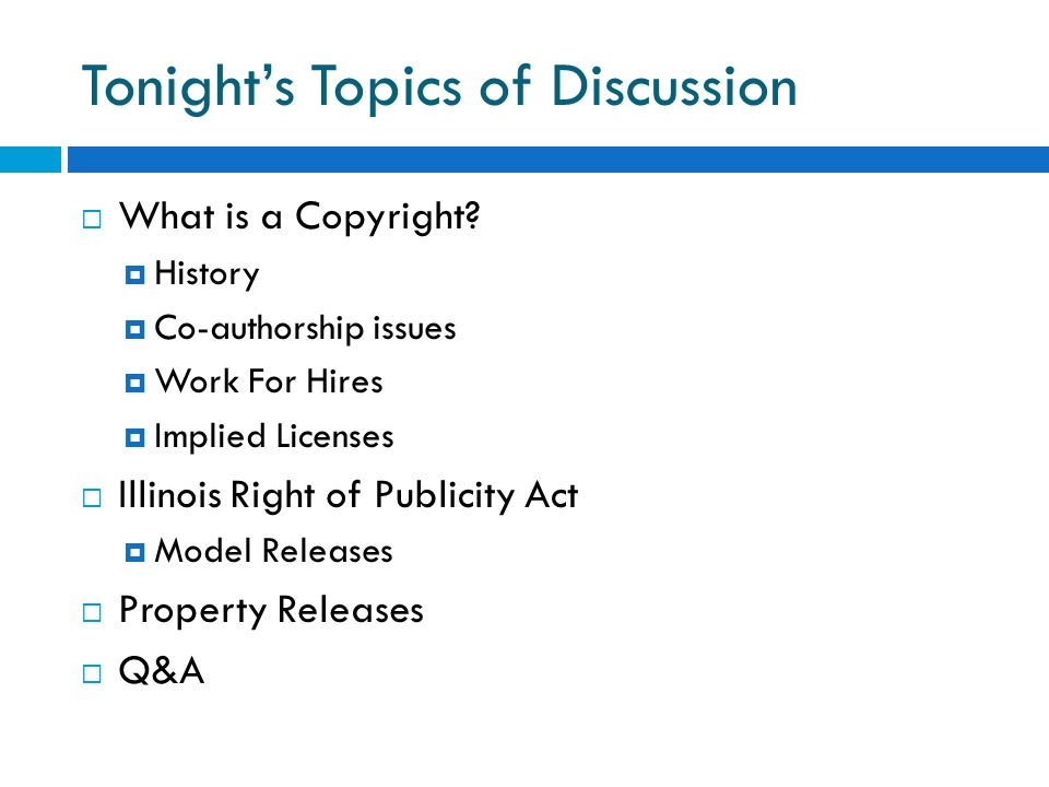 Tonight's Topics of Discussion