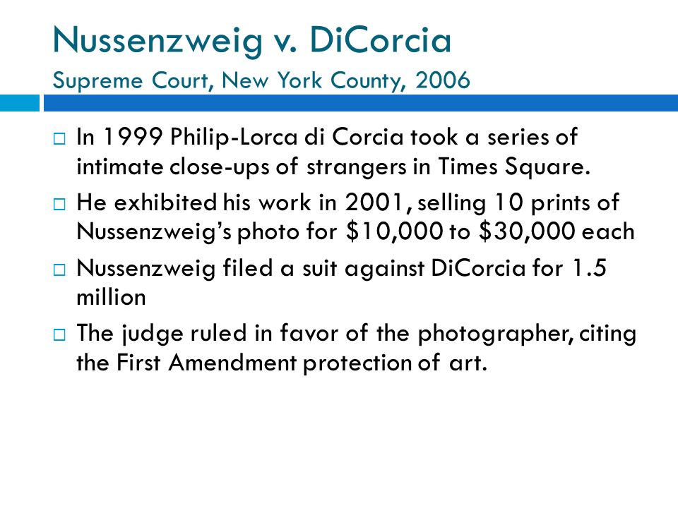 Nussenzweig v. DiCorcia Supreme Court, New York County, 2006