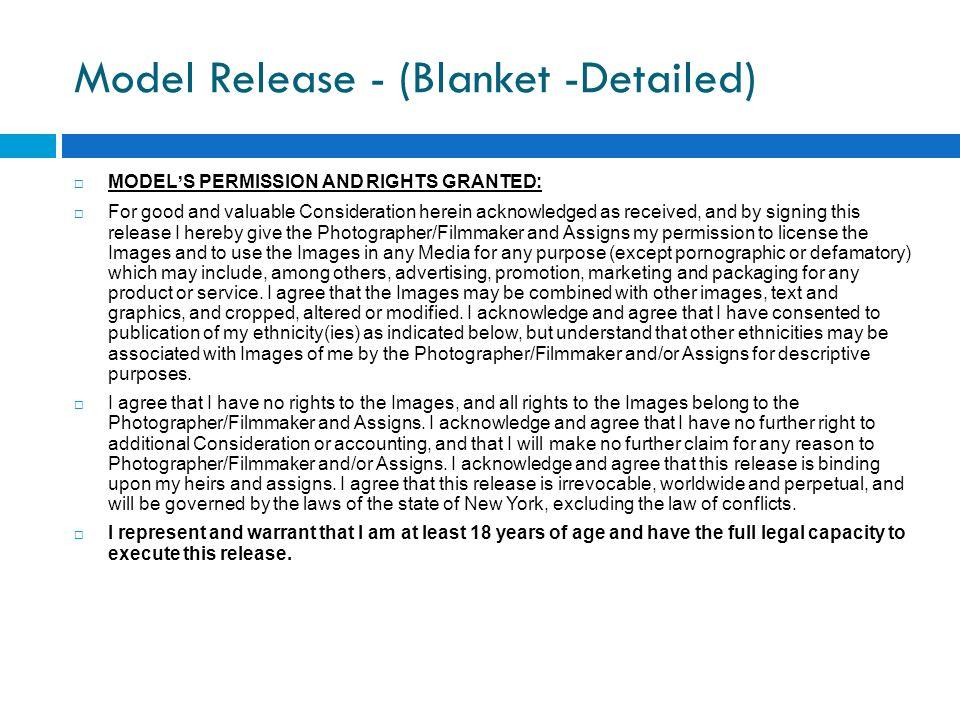 Model Release - (Blanket -Detailed)