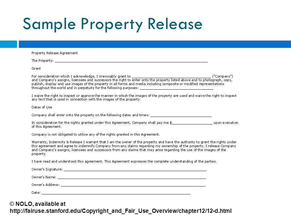 Sample Property Release