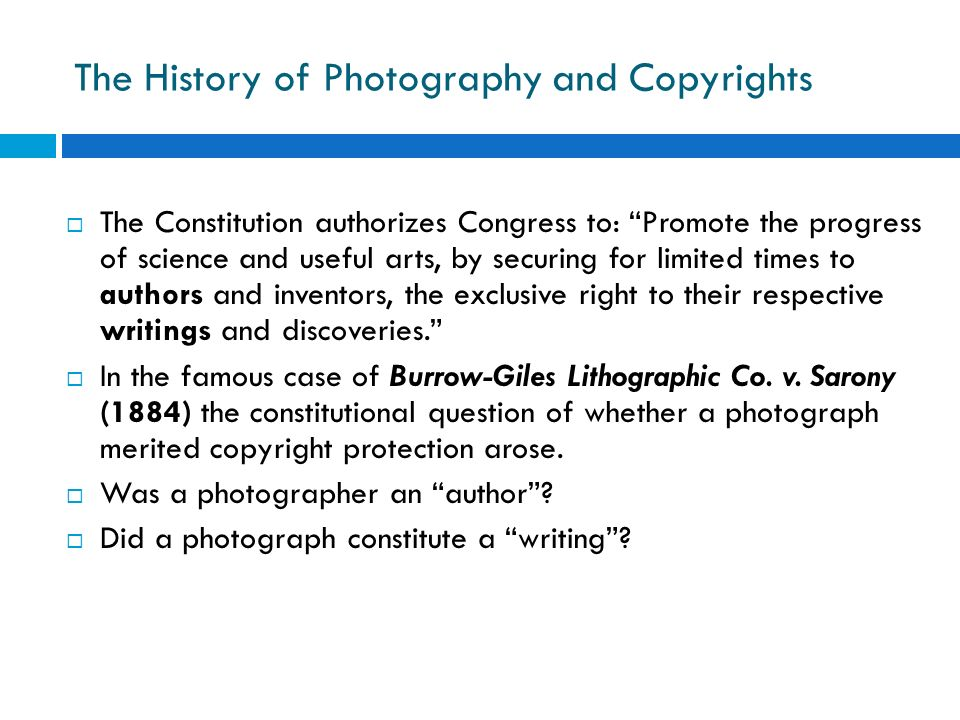 The History of Photography and Copyrights