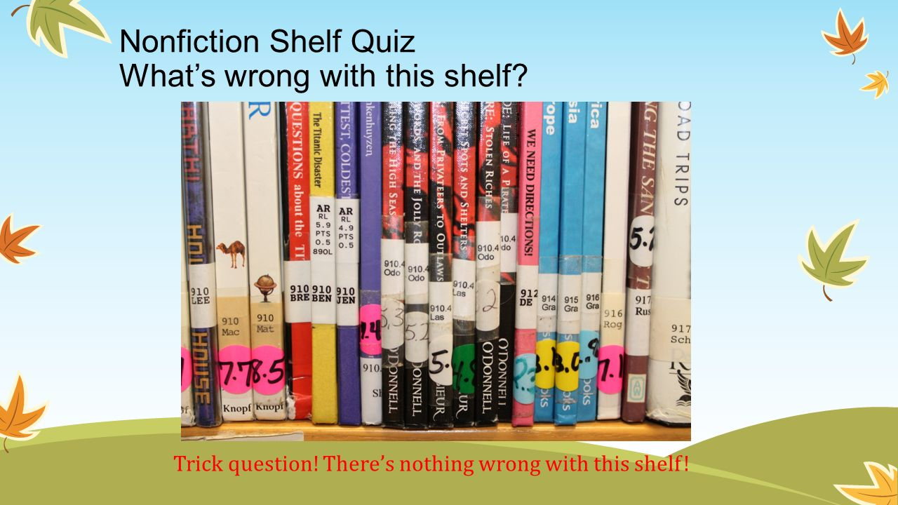 Nonfiction Shelf Quiz What's wrong with this shelf