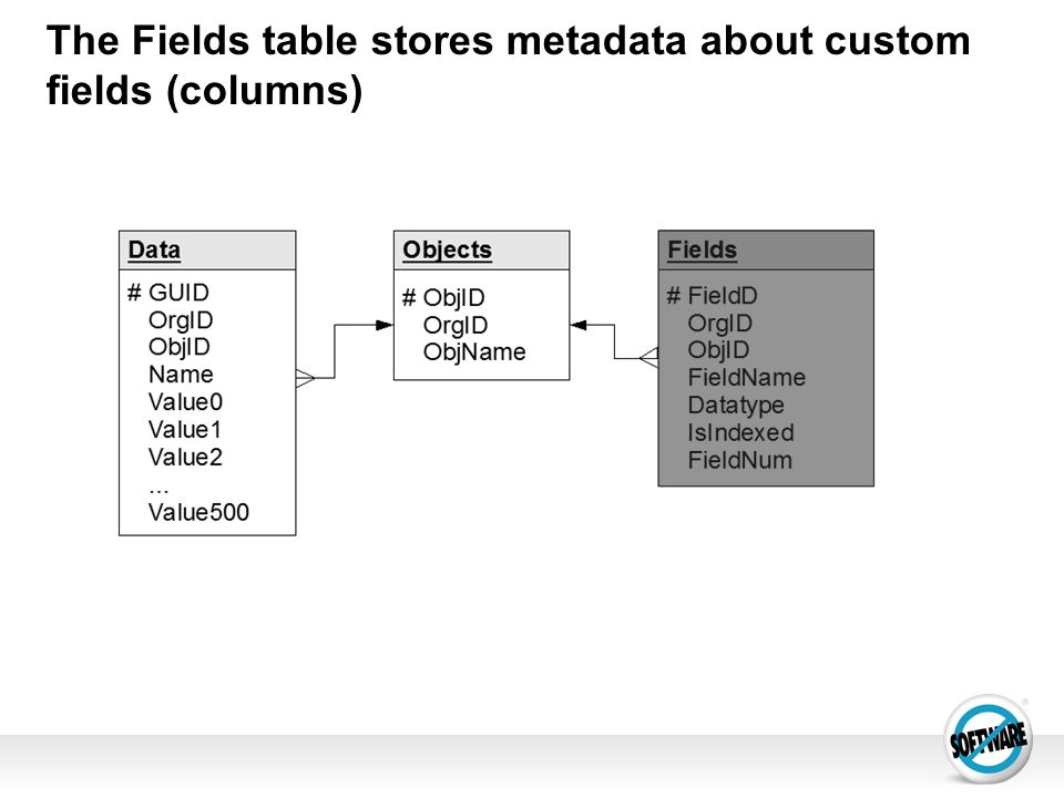 The Fields table stores metadata about custom fields (columns)‏