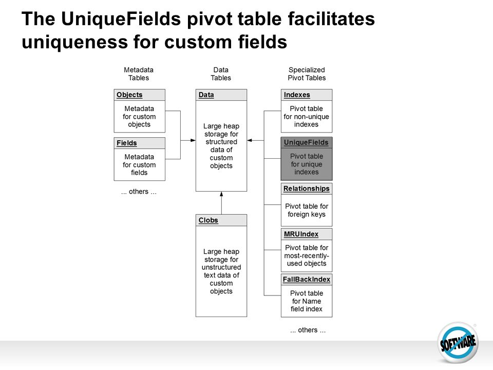 The UniqueFields pivot table facilitates uniqueness for custom fields