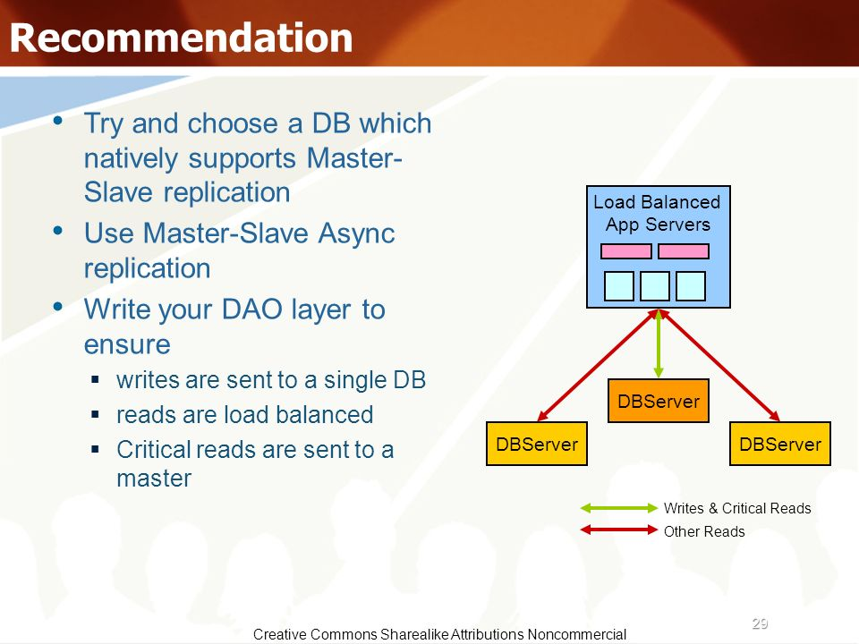 Recommendation Try and choose a DB which natively supports Master- Slave replication. Use Master-Slave Async replication.