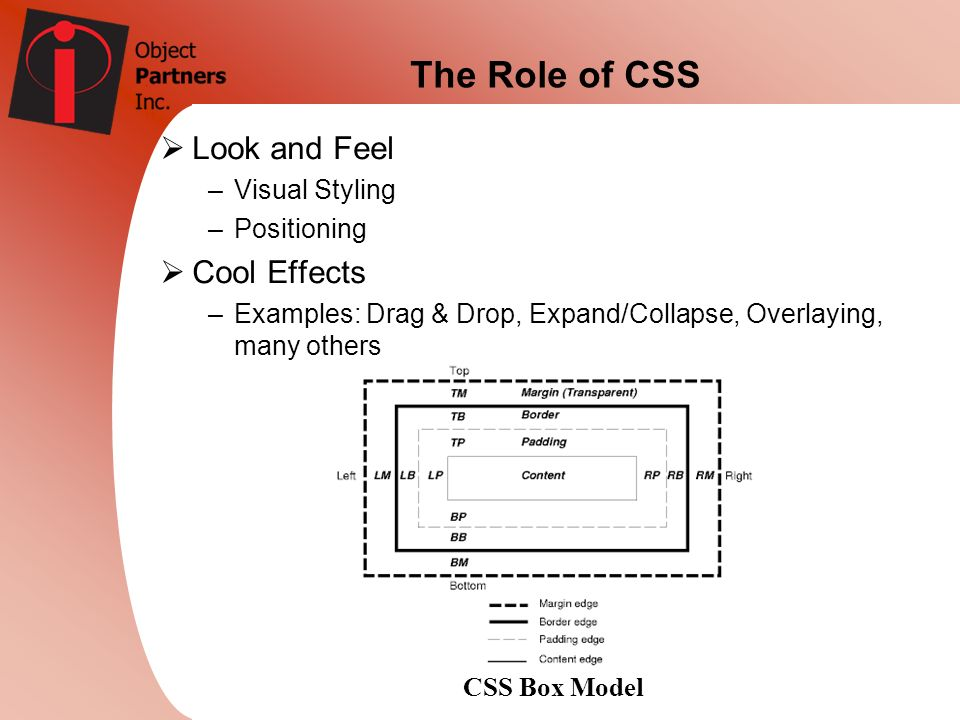 The Role of CSS Look and Feel Cool Effects Visual Styling Positioning
