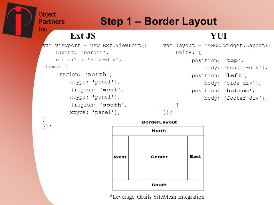 Step 1 – Border Layout Ext JS YUI