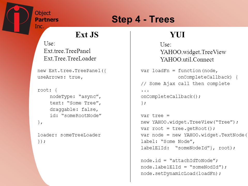 Step 4 - Trees Ext JS YUI Use: Use: Ext.tree.TreePanel