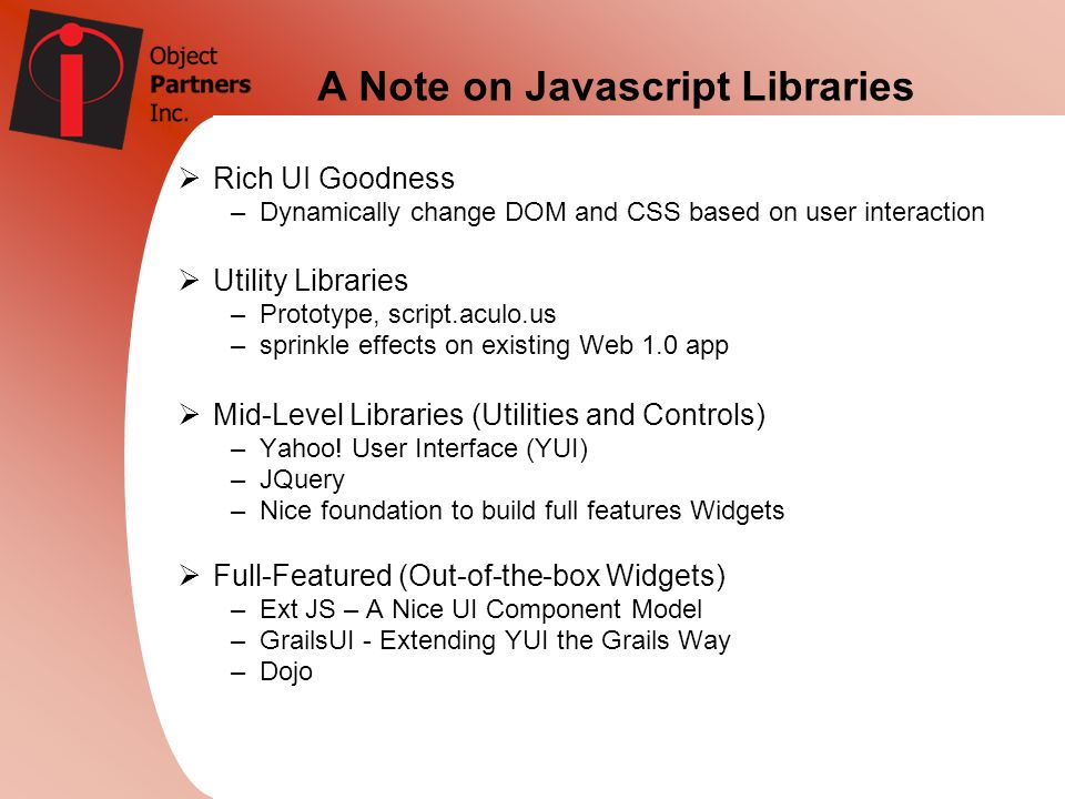 A Note on Javascript Libraries