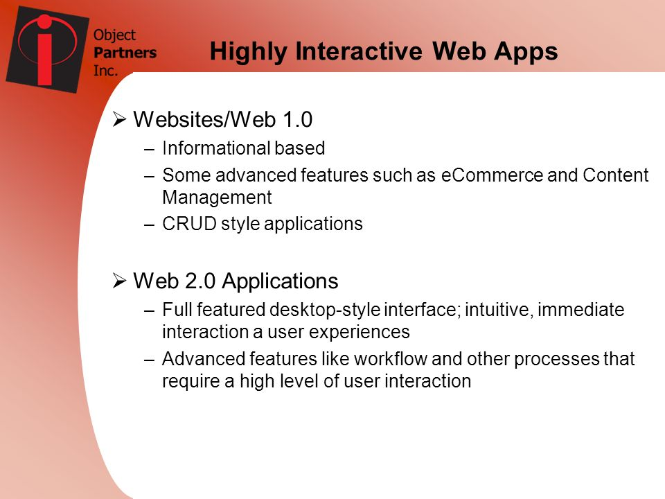 Highly Interactive Web Apps