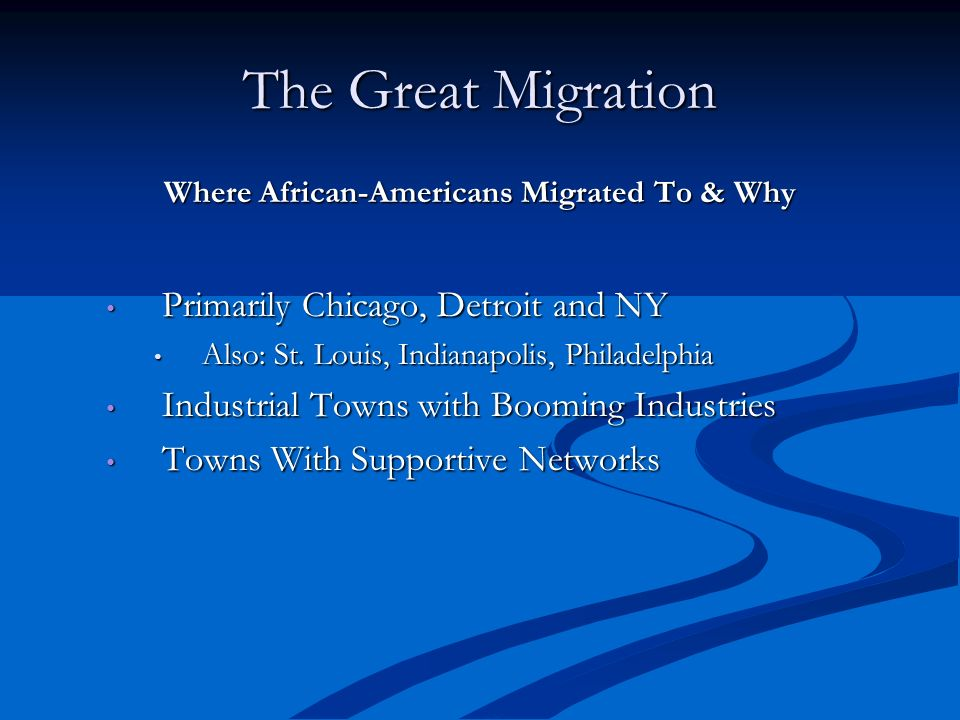 Where African-Americans Migrated To & Why
