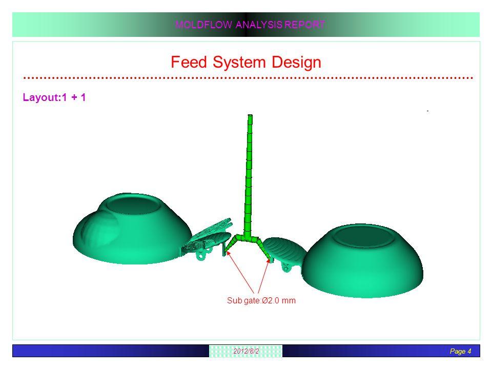 Feed System Design Layout:1 + 1 Sub gate:Ø2.0 mm