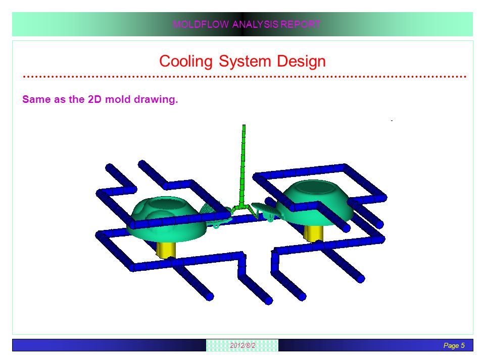 Cooling System Design Same as the 2D mold drawing.