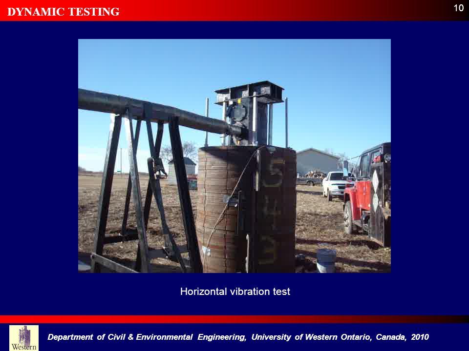DYNAMIC TESTING Horizontal vibration test 10