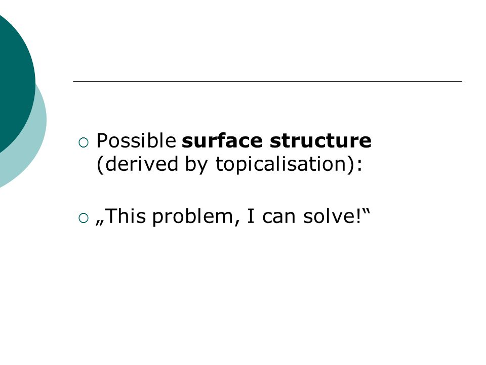 Possible surface structure (derived by topicalisation):