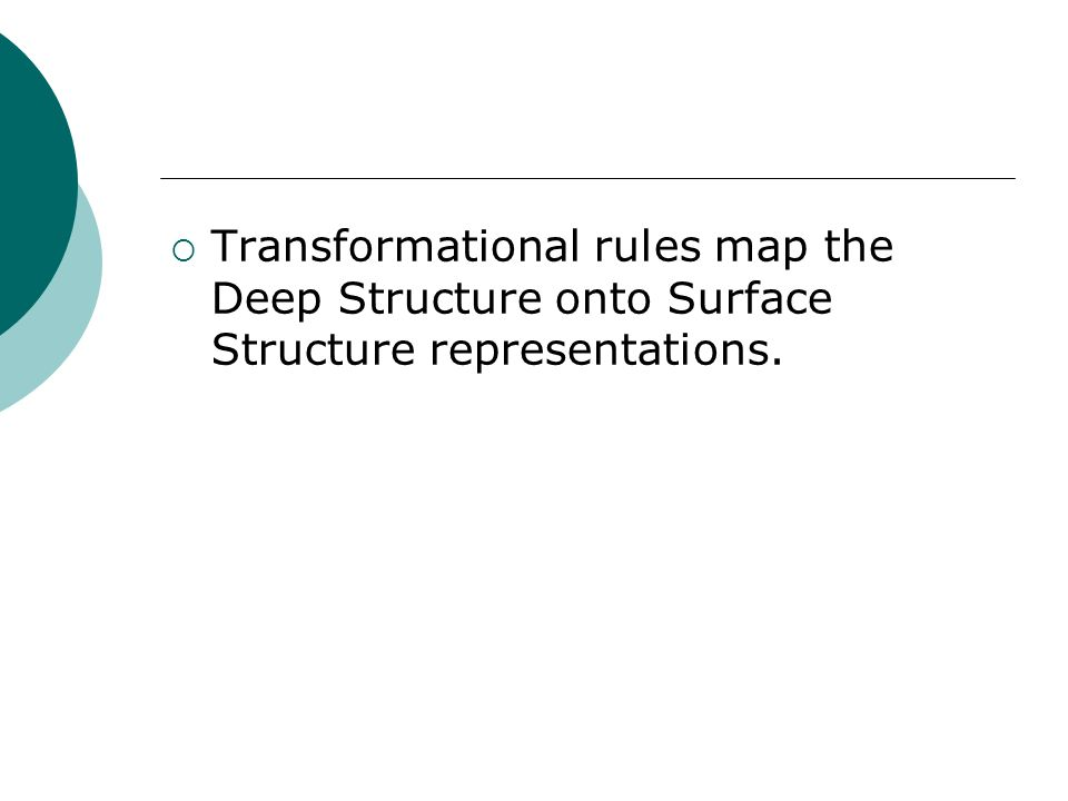 Transformational rules map the Deep Structure onto Surface Structure representations.