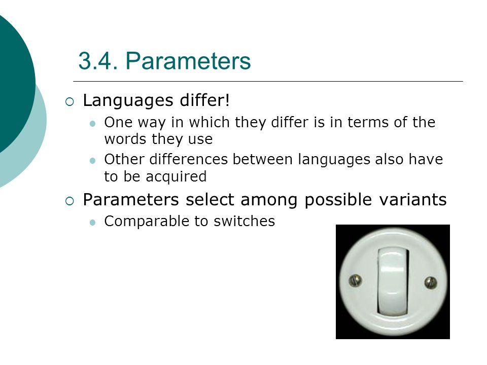 3.4. Parameters Languages differ!