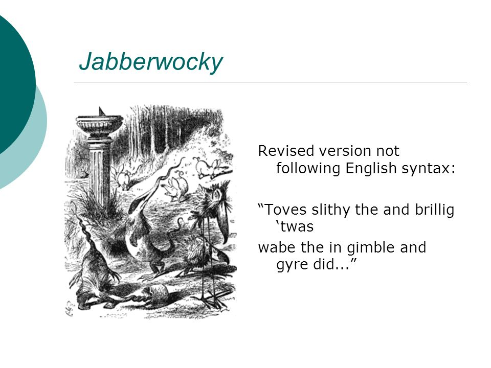 Jabberwocky Revised version not following English syntax: