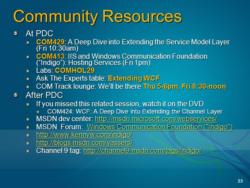 Community Resources At PDC After PDC