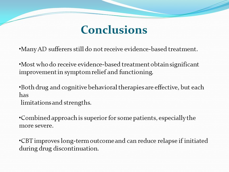 Conclusions Many AD sufferers still do not receive evidence-based treatment.