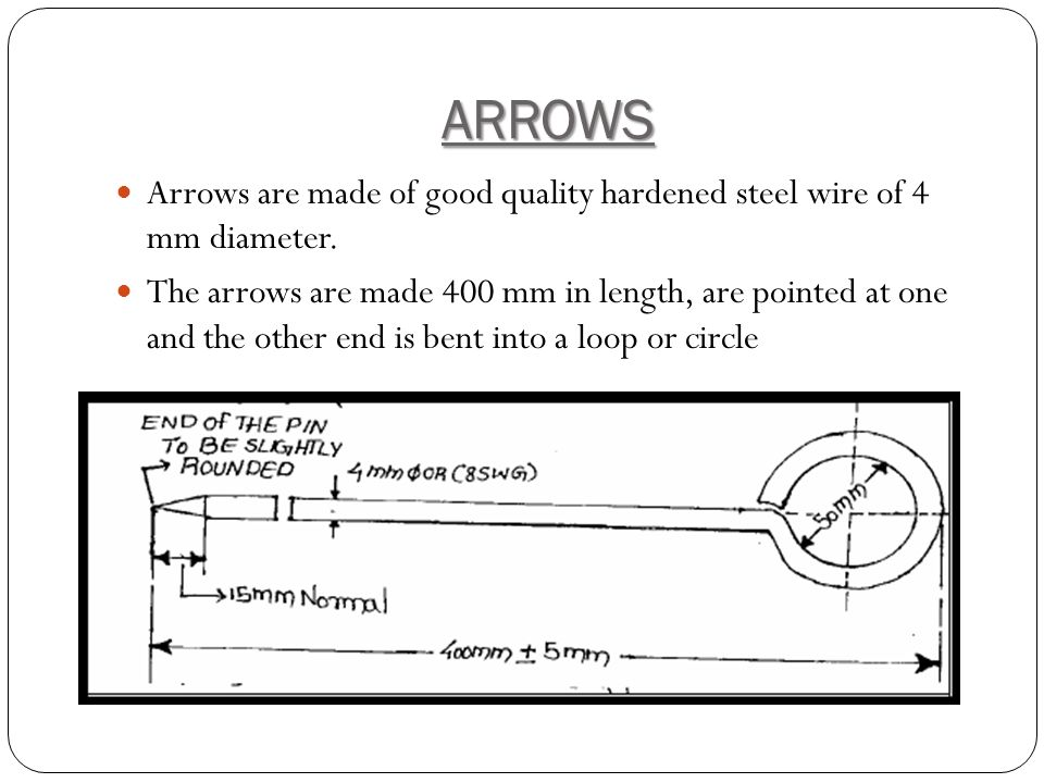 ARROWS Arrows are made of good quality hardened steel wire of 4 mm diameter.