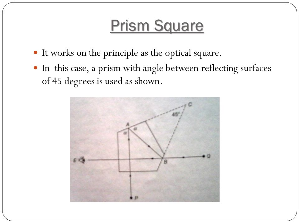 Prism Square It works on the principle as the optical square.