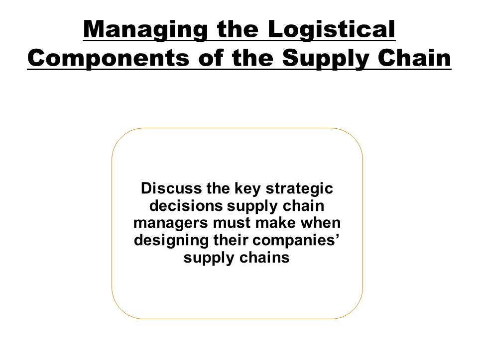 Managing the Logistical Components of the Supply Chain
