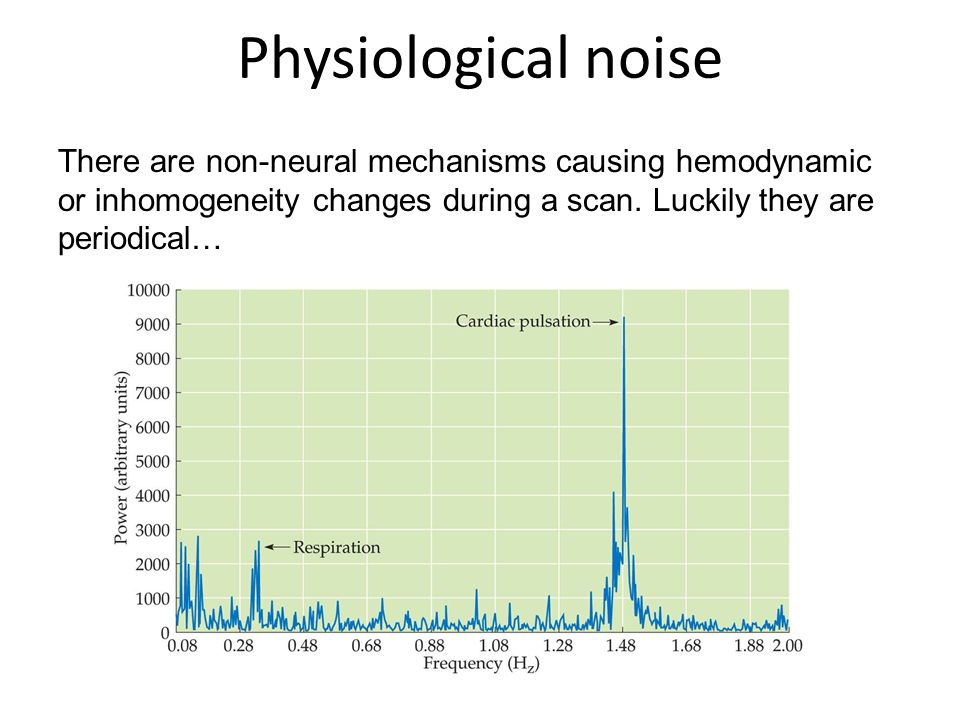 Physiological noise There are non-neural mechanisms causing hemodynamic or inhomogeneity changes during a scan.