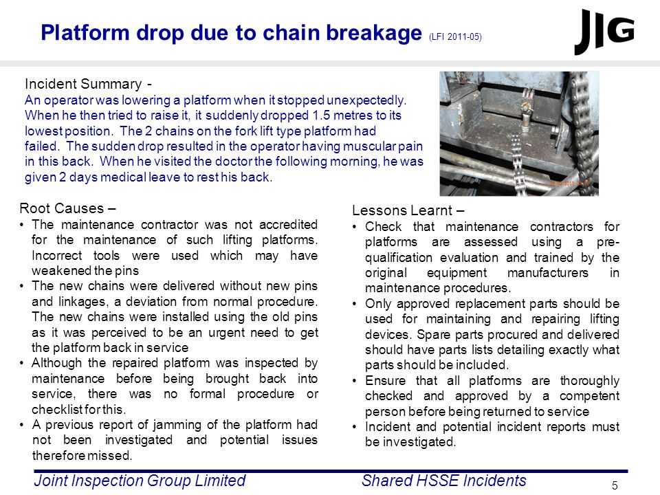 Platform drop due to chain breakage (LFI 2011-05)