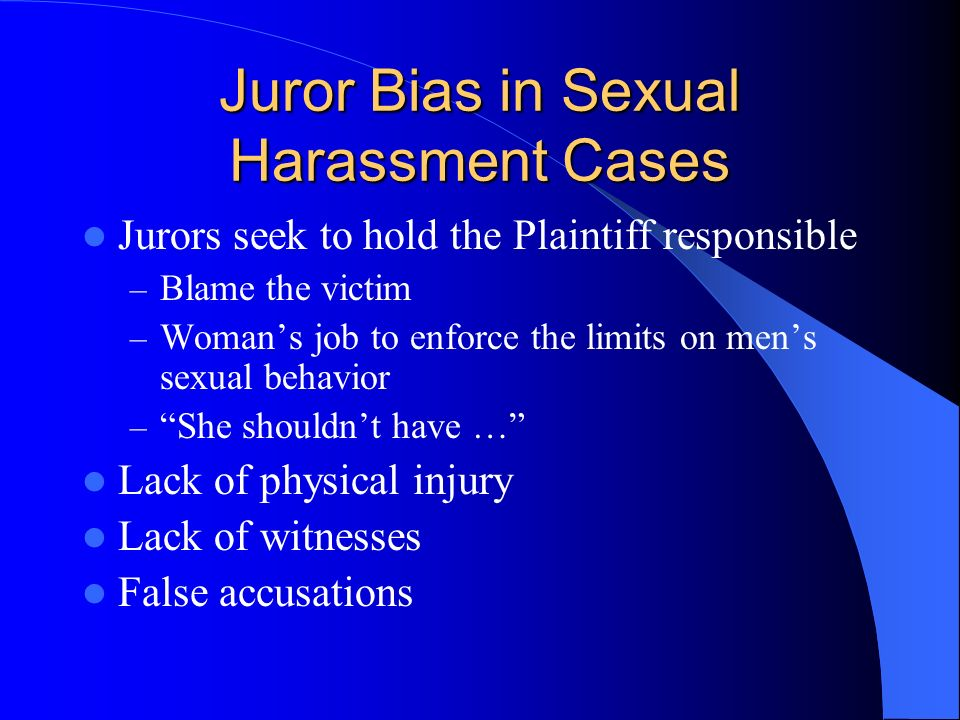 Juror Bias in Sexual Harassment Cases