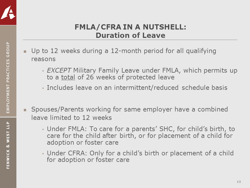 FMLA/CFRA IN A NUTSHELL: Duration of Leave
