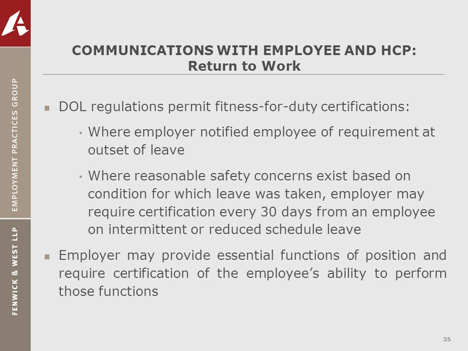 COMMUNICATIONS WITH EMPLOYEE AND HCP: Return to Work