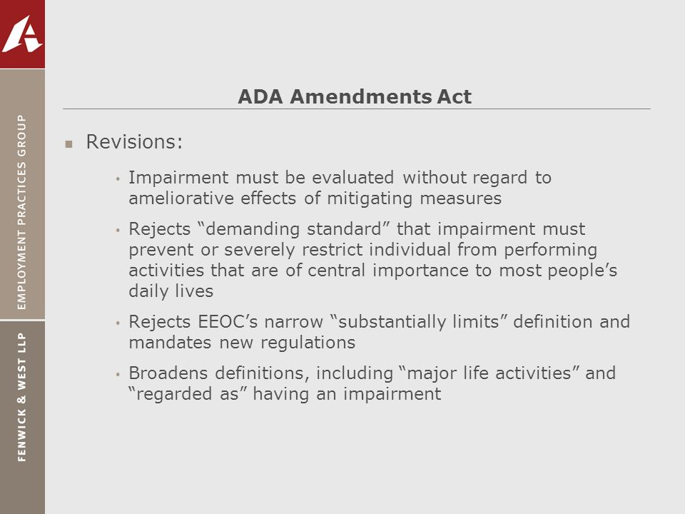ADA Amendments Act Revisions: