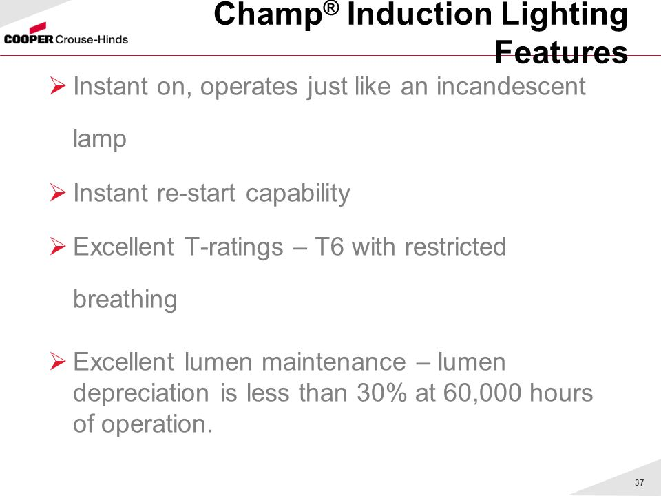 Champ® Induction Lighting Features